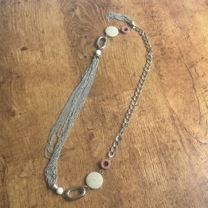 Silver and stone statement necklace